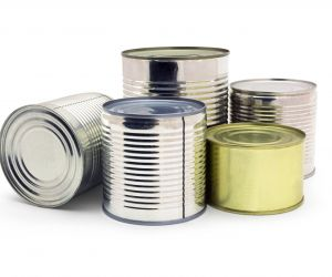Canned food cans before compacting