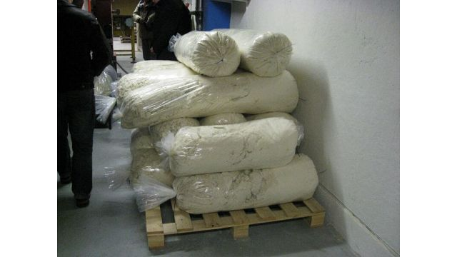 PUR Compacted into Bags for Stacking on Pallet