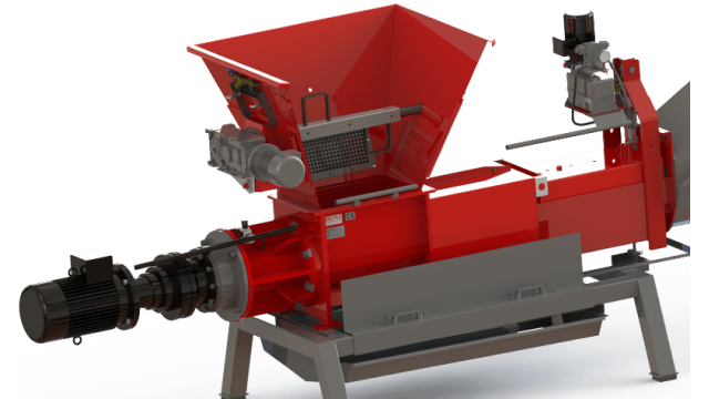 RUNI Screw Compactor for Dewatering Alu Cans and PET bottles with Agitator in Hopper