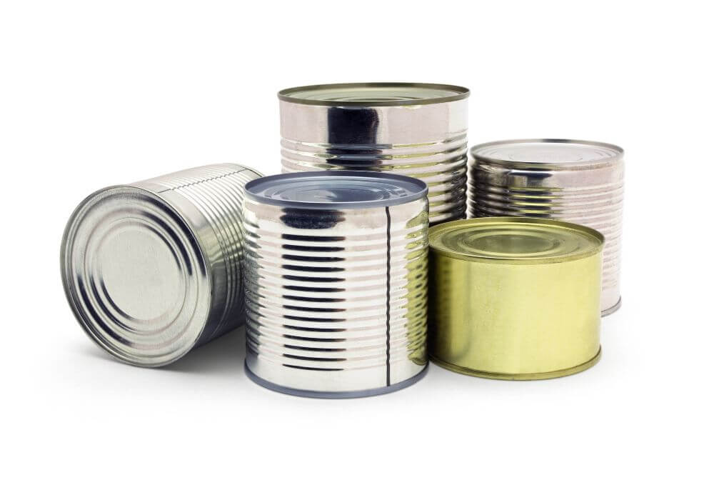 Full Tin Cans with Food before Compacting and Separating Content